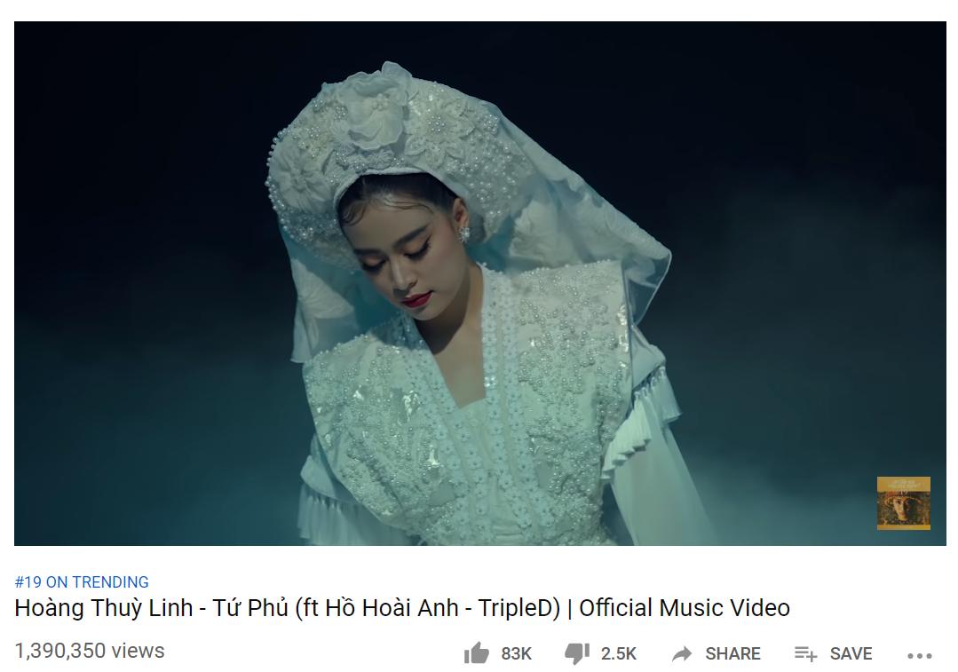 Tứ Phủ của Hoàng Thùy Linh đạt 1 triệu view trong thời gian kỷ lục, leo thẳng lên top 1 BXH iTunes Việt Nam