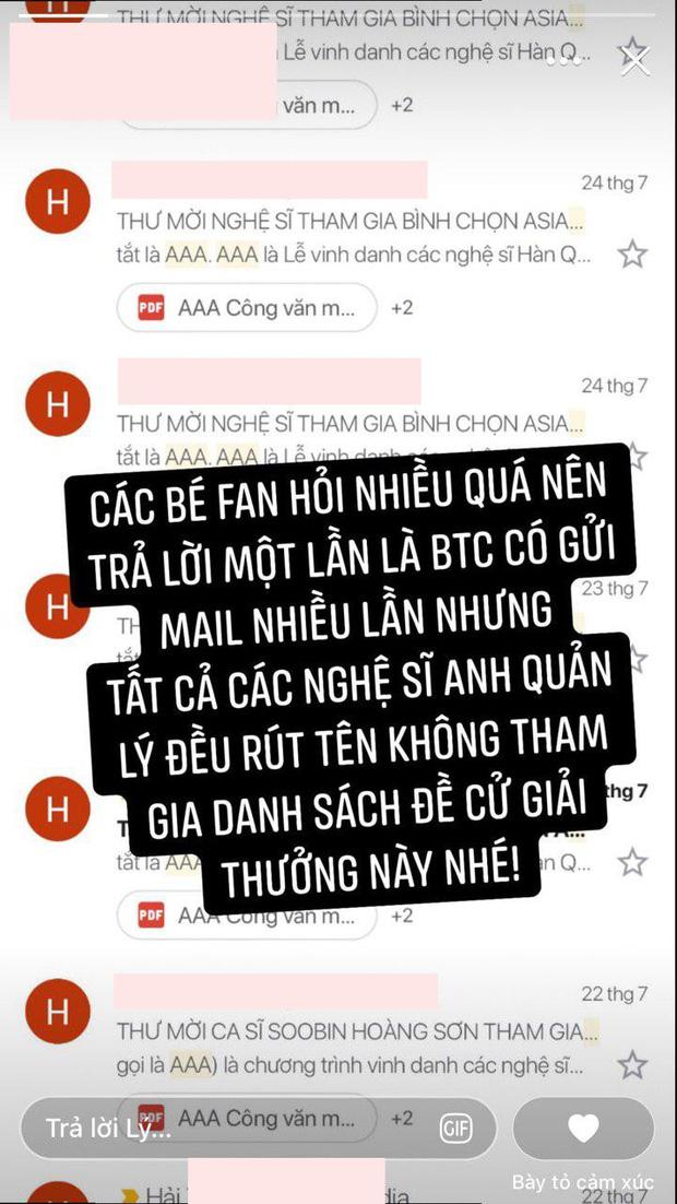 Tóc Tiên, Soobin Hoàng Sơn Gin Tuấn Kiệt nối bước Sơn Tùng M-TP, đồng loạt rút khỏi đề cử AAA 2019