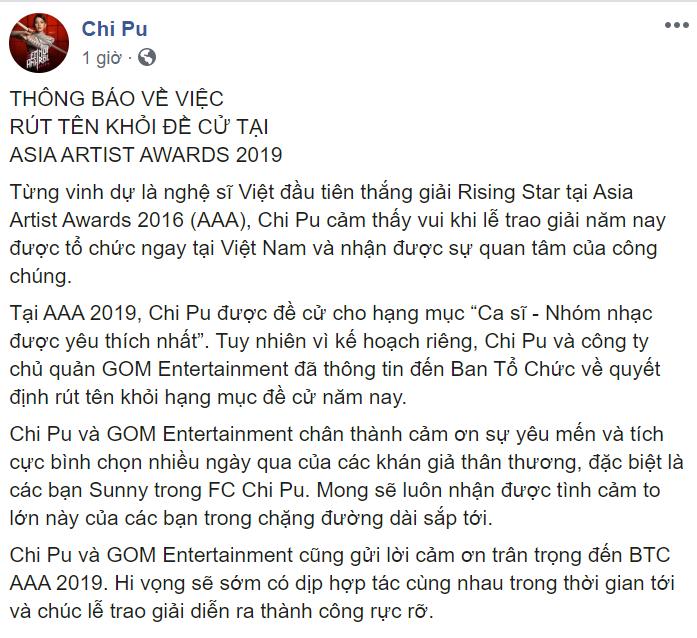 Hàng loạt cái tên rút lui, AAA 2019 hủy bỏ hạng mục dành cho nghệ sĩ Việt Nam