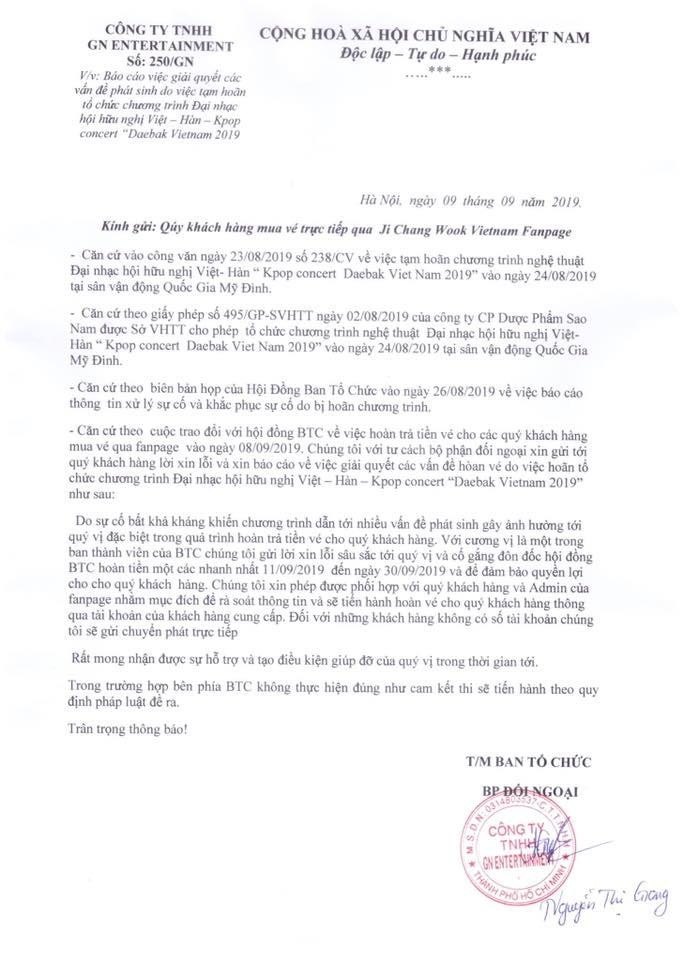 BTC đại hội mời Ji Chang Wook mập mờ trong việc hoàn tiền vé, vướng nghi án lừa đảo