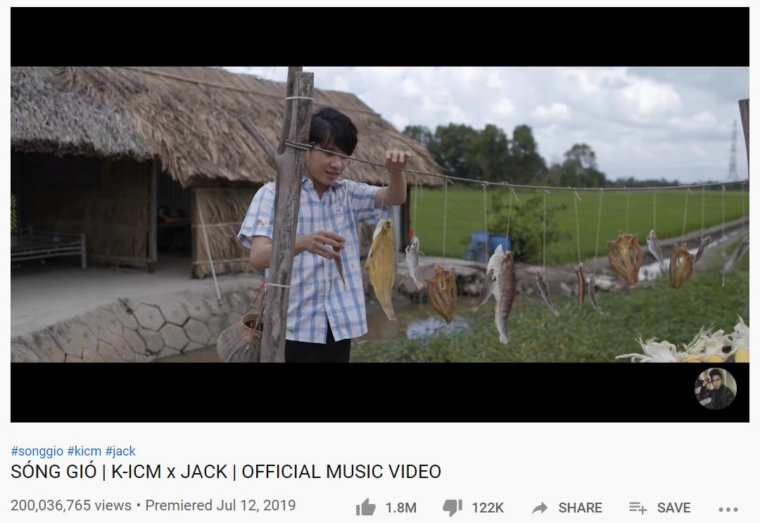 Jack& K-ICM phá kỷ lục của chính mình: Sóng Gió là MV cán mốc 200 triệu view nhanh nhất Vpop