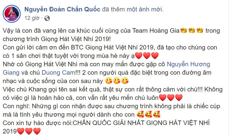 MC Nguyên Khang trực tiếp xin lỗi bé Chấn Quốc và Hương Giang vì sự cố đọc nhầm kết quả