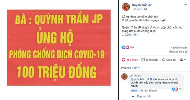 Từ Nhật Bản, Quỳnh Trần JP quyên góp 100 triệu đồng hỗ trợ chống dịch ở Việt Nam