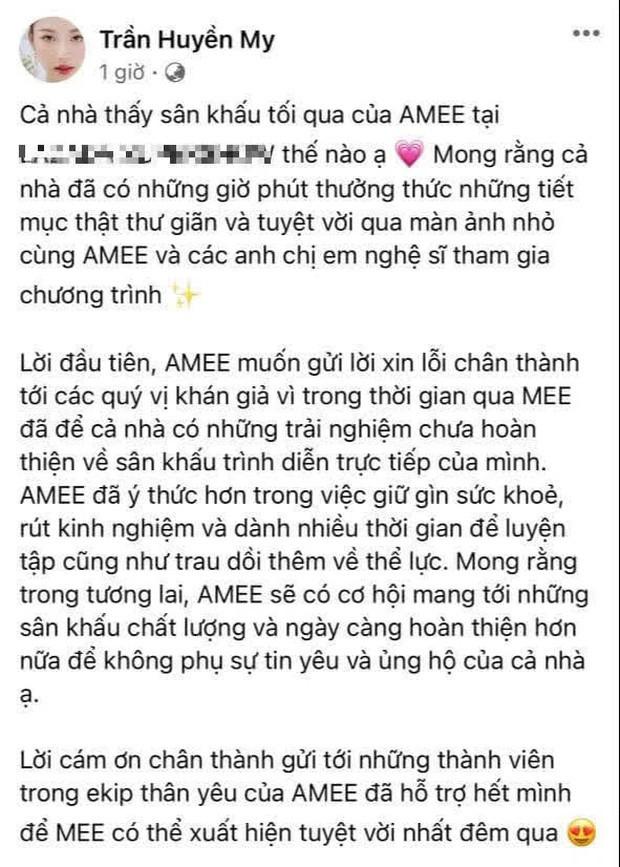 AMEE bất ngờ gửi lời xin lỗi về giọng hát live gây tranh cãi suốt thời gian qua, hứa sẽ cải thiện trong tương lai