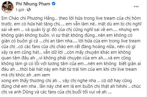 Phi Nhung quay clip hát tặng bà Phương Hằng, nhắn nhủ: Em không làm gì có lỗi với lương tâm