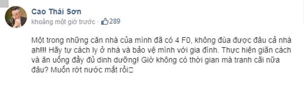 Cao Thái Sơn thông báo nhà có 4 người là F0 khiến fan lo lắng