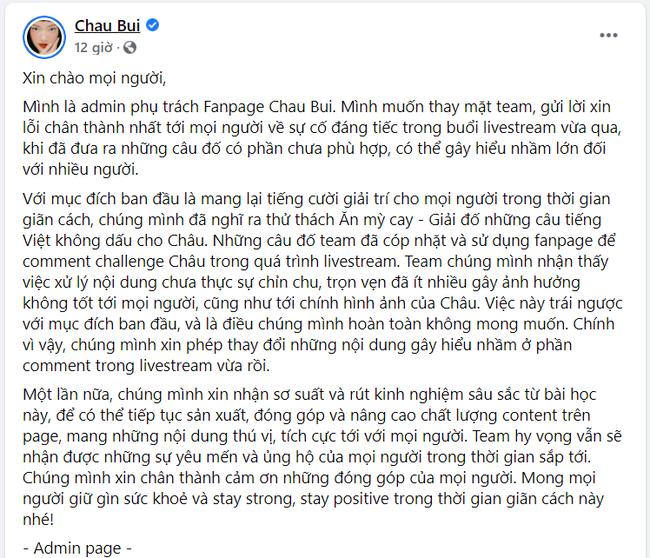 Châu Bùi đăng clip xin lỗi và giải thích về vụ chơi đố chữ với nội dung nhạy cảm