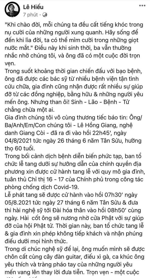 Con trai NS Giang Còi thông báo cáo phó: Chỉ phát tang và hoả táng ngay sáng nay, hé lộ di nguyện đặc biệt của người quá cố