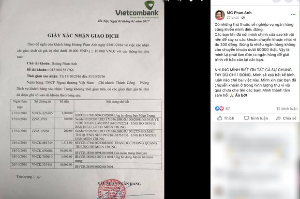Giữa lùm xùm từ thiện, MC Phan Anh bỗng dưng tung 6,5kg sao kê 24 tỷ kêu gọi cứu trợ miền Trung năm 2016