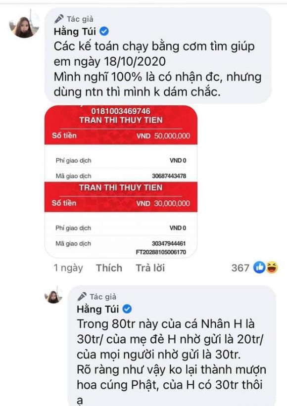 Hot mom Hằng Túi phản pháo khi bị nói làm giả hoá đơn chuyển khoản cho Thủy Tiên, tiện thể nhắc tới việc bà chủ Đại Nam livestream