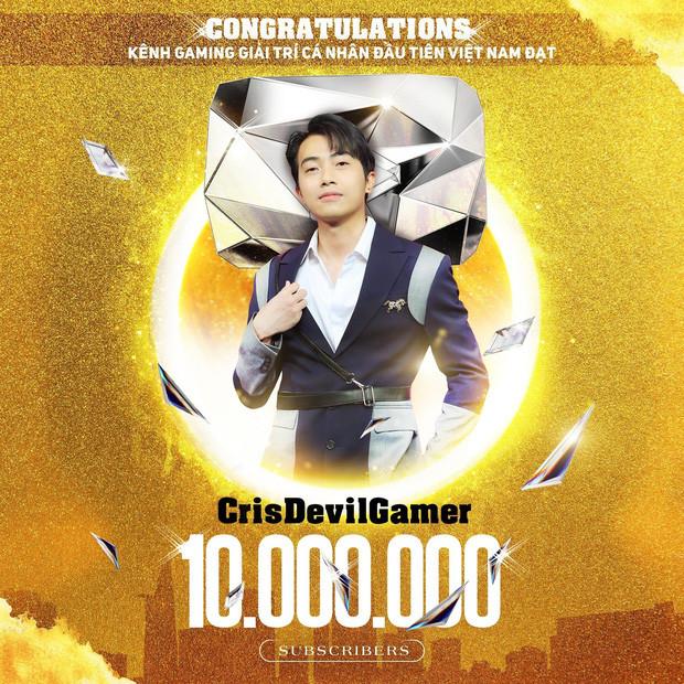Cris Devil Gamer cán mốc 10 triệu lượt đăng ký, trở thành kênh YouTube gaming đầu tiên ở Việt Nam đạt nút kim cương