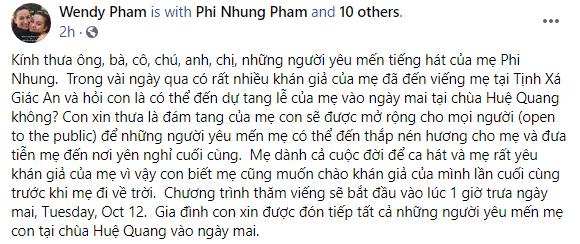 Con gái Phi Nhung chia sẻ về tang lễ của mẹ được tổ chức vào ngày mai tại Mỹ