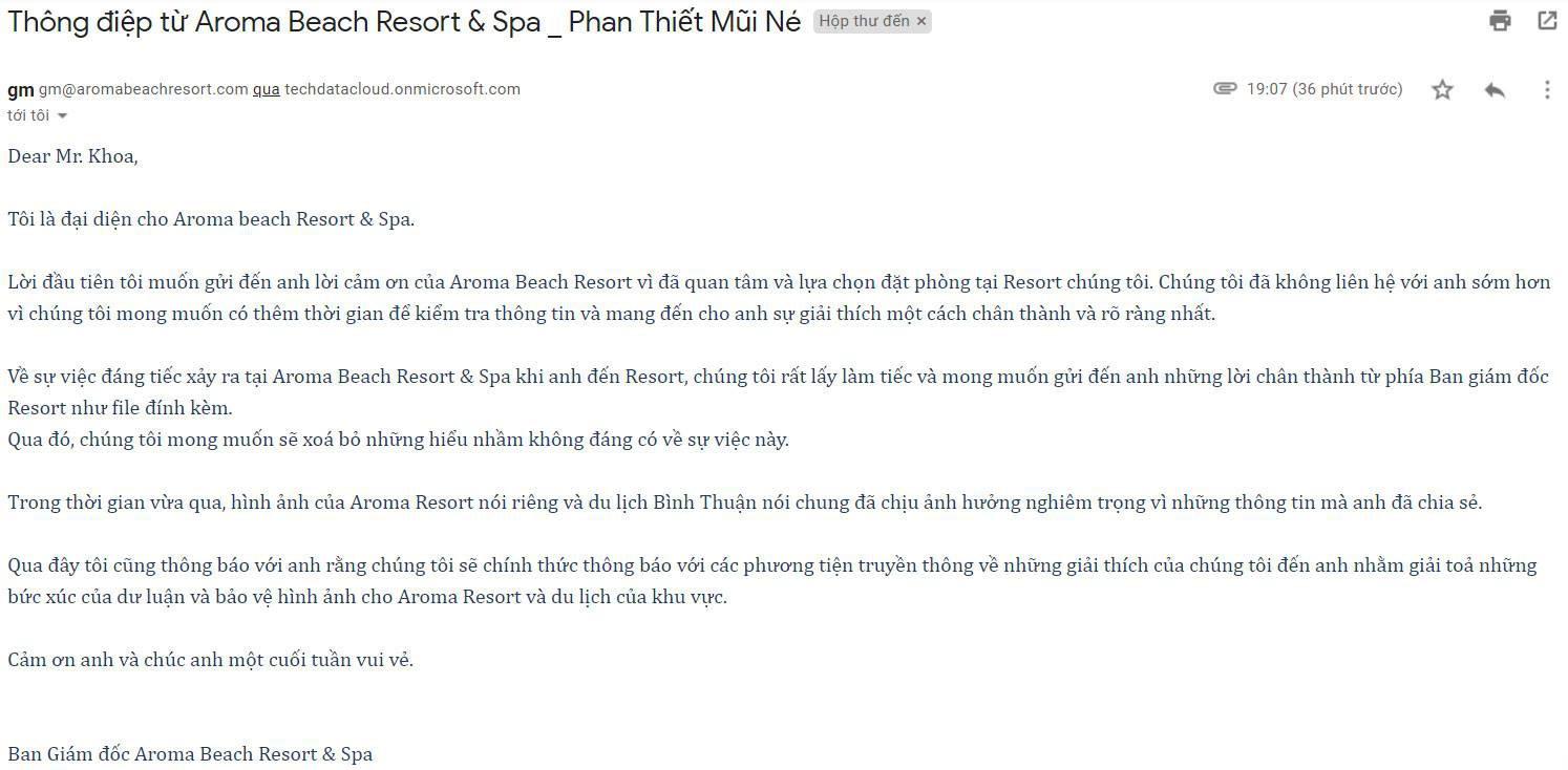 Khoa Pug nhận được thư xin lỗi từ Aroma resort, hi vọng CDM ngưng đánh giá 1 sao và tiệt đường sống của họ