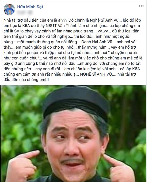 Ngày tiễn cố NS Anh Vũ về nơi yên nghỉ, Hứa Minh Đạt tiết lộ một câu chuyện xúc động