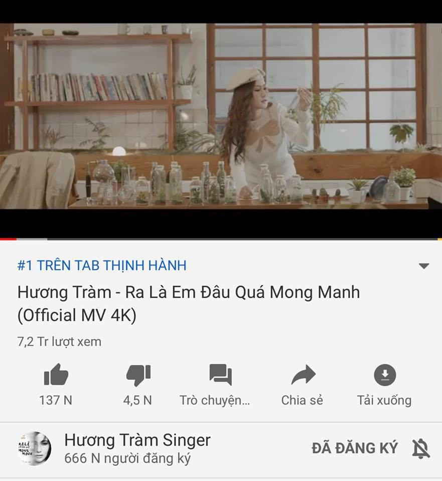 Sau 4 ngày, MV của Hương Tràm kịp đạt top 1 trending trước khi nữ ca sĩ tạm ngưng ca hát