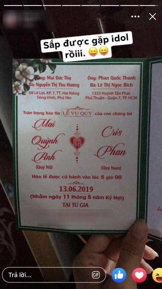Cuối cùng tên thật là gì mà cả thiệp  mời cưới cũng không khiến Cris phải khai ra?