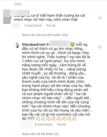 Hết bị chỉ trích bắt chước Lisa, Thiều Bảo Trâm đáp trả thanh lịch khi bị lên án thích mấy nhóm nhạc Hàn
