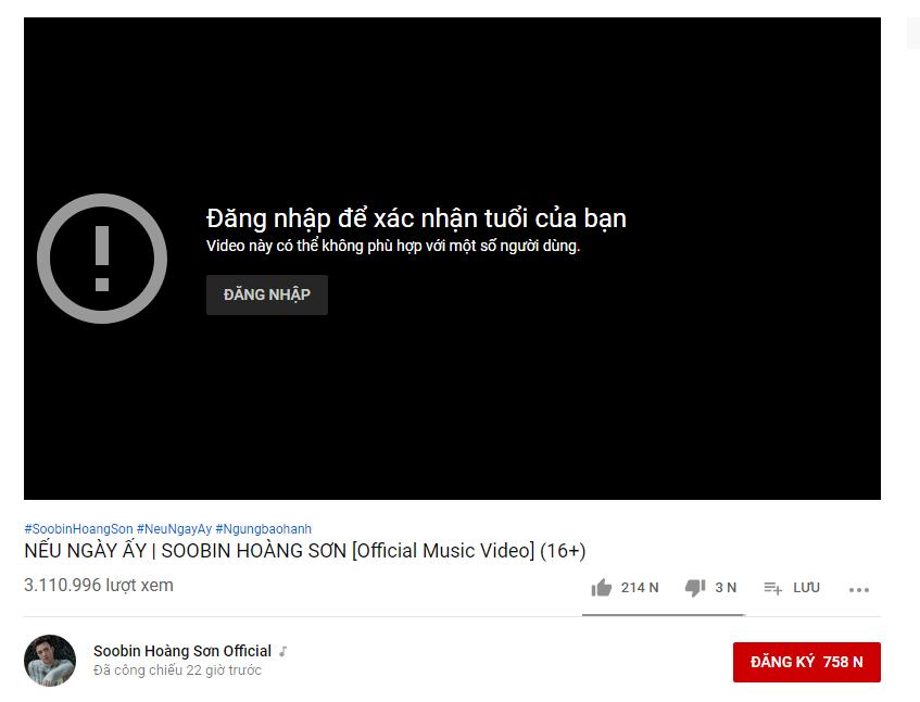Youtube khai tử MV mới của Soobin Hoàng Sơn, Nếu ngày ấy văng khỏi top trending dù đang giữ vị trí cao ngất ngưỡng