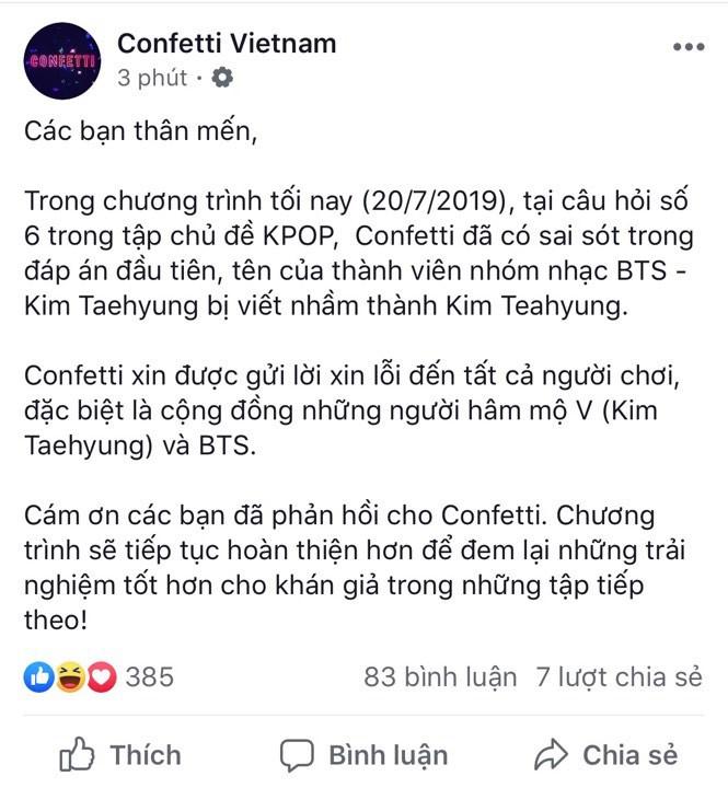 Confetti nhanh chóng gửi lời xin lỗi đến cộng đồng Army khi viết sai tên của thành viên BTS này