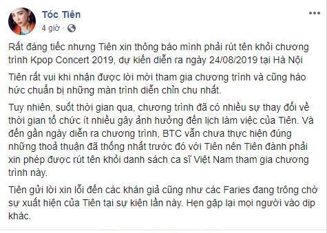 Tóc Tiên thông báo hủy show có mặt Ji Chang Wook 2 ngày trước giờ G