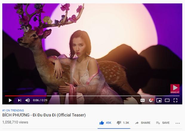 Chỉ mới là teaser, Bích Phương lên luôn top 1 trending Youtube với Đi đu đưa đi