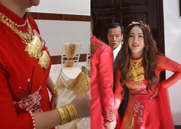 Tiểu thư nhà đại gia Minh Nhựa khoe số vàng được tặng trong lễ cưới nặng trĩu cả tay
