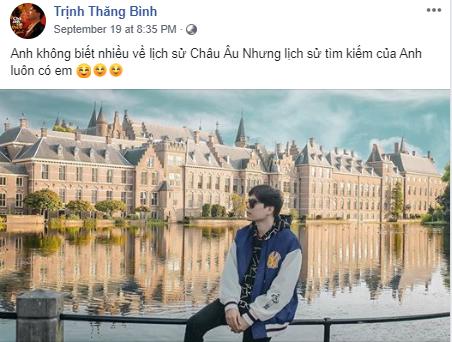 Hẹn hò châu Âu mặc cả đồ đôi, Trịnh Thăng Bình vẫn không quên thả thính Liz Kim Cương trên mạng xã hội