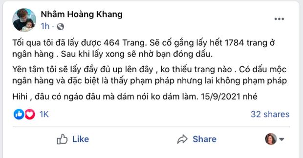 Cậu IT Nhâm Hoàng Khang tuyên bố đã có 464/1784 trang sao kê 280 tỷ đồng của Quỹ từ thiện Hằng Hữu: Sẽ cố gắng lấy hết và nhờ bạn đóng dấu