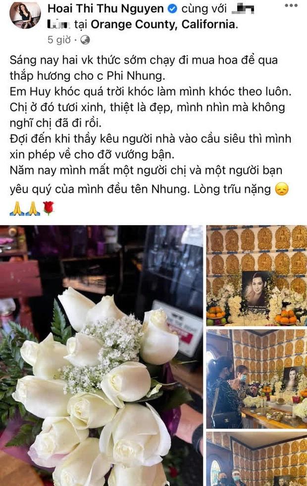 Chùm ảnh lễ cúng thất đầu cố ca sĩ Phi Nhung ở Mỹ: Vợ cũ Bằng Kiều đội khăn tang, Thanh Thảo xót xa động viên Wendy Phạm