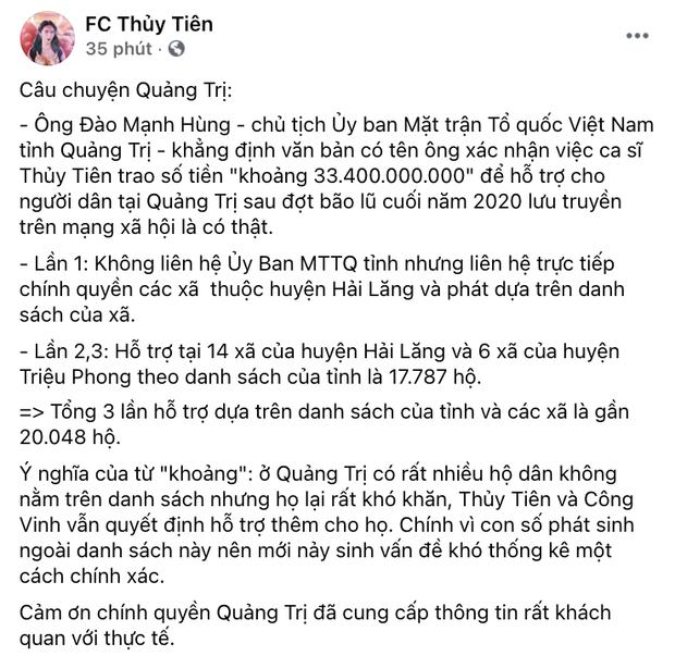 Phía Thuỷ Tiên làm rõ lý do không thống kê được chính xác số tiền từ thiện ở Quảng Trị?